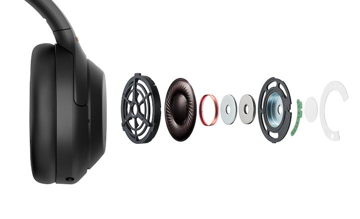 Zobrazení vnitřních částí sluchátek WH-1000XM4 v rozloženém stavu