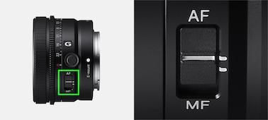 Produktový snímek zobrazující umístění přepínače režimu ostření na objektivu