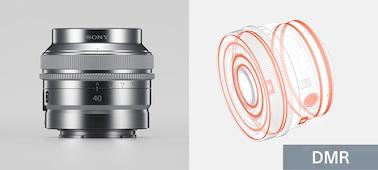 Kombinovaný produktový snímek znázorňující konstrukci objektivu odolnou proti prachu a vlhkosti a kovovou povrchovou úpravu objektivu