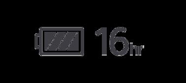 Ikona znázorňující plně nabitou baterii a její výdrž 16 hodin.