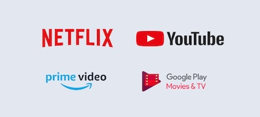 Loga Netflix, YouTube, prime video a Google Play