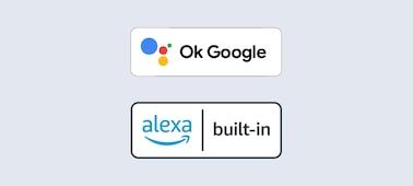 Loga vestavěných asistentů OK Google a Alexa