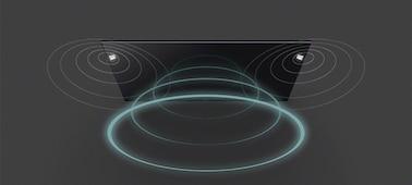 Snímek zvukových vln z televizoru s technologií Acoustic Multi-Audio™