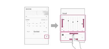 Obrázek znázorňující, jak si přizpůsobit zvuk pomocí funkce EQ v aplikaci Sony Headphones Connect