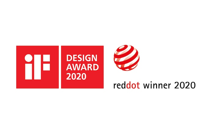 Loga ocenění iF Design Award 2020 a Red Dot Winner 2020