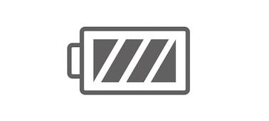 Ikona symbolu plně nabité baterie.