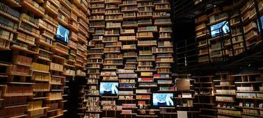 Fotografie interiéru knihovny s vysokým rozlišením napříč záběrem pořízená tímto objektivem