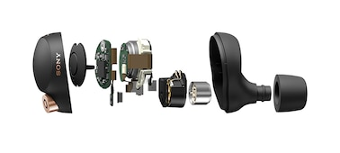 Rozložený pohled na sluchátka WF-1000XM4 zobrazující vnitřní součásti