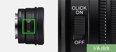 Produktový snímek zobrazující umístění přepínače zapnutí/vypnutí cvaknutí na objektivu